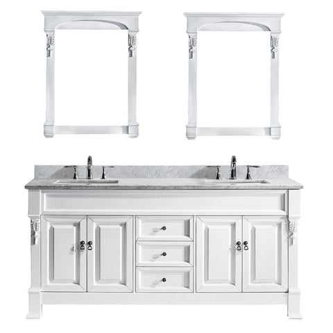 "72"" Double Bathroom Vanity GD-4072-WMSQ-WH"