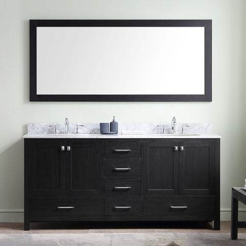 "72"" Double Bathroom Vanity in Zebra Grey KD-60072-BGRO-ZG"