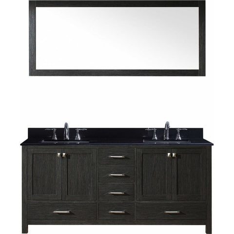"72"" Double Bathroom Vanity in Zebra Grey KD-60072-BGSQ-ZG"