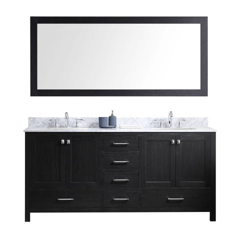 "72"" Double Bathroom Vanity in Zebra Grey KD-60072-WMRO-ZG"