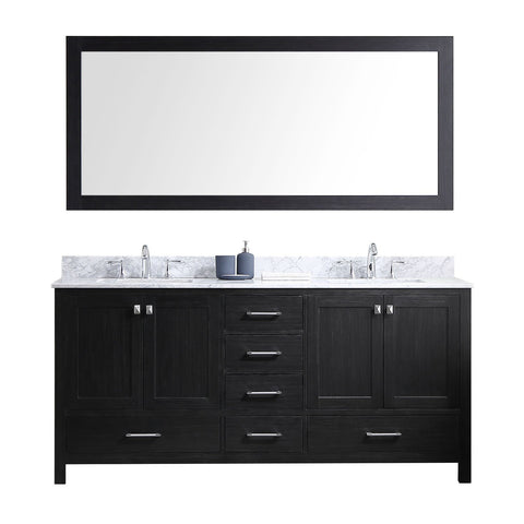 "72"" Double Bathroom Vanity in Zebra Grey KD-60072-WMSQ-ZG"
