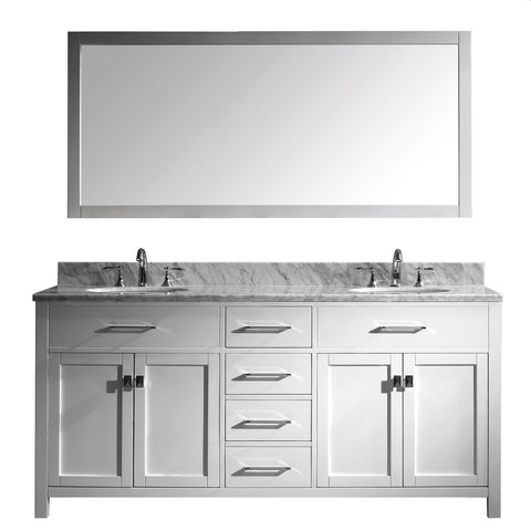 "72"" Double Bathroom Vanity MD-2072-WMRO-WH"