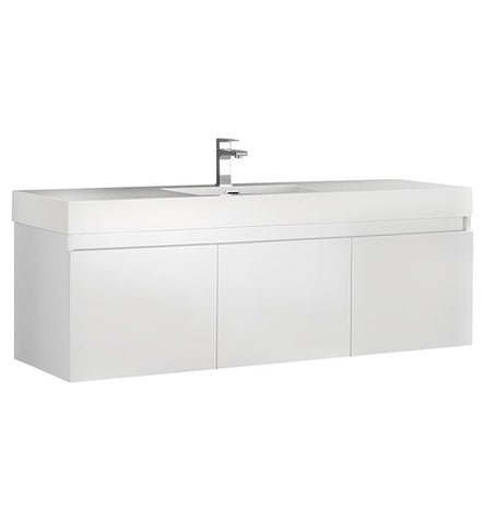 "Image of Fresca Mezzo 60"" White Wall Hung Single Sink Modern Bathroom Cabinet w/ Integrated Sink 