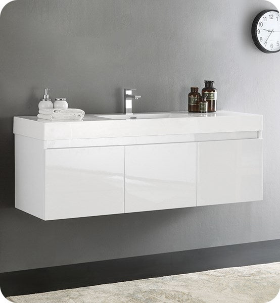"Fresca Mezzo 60"" White Wall Hung Single Sink Modern Bathroom Cabinet w/ Integrated Sink 