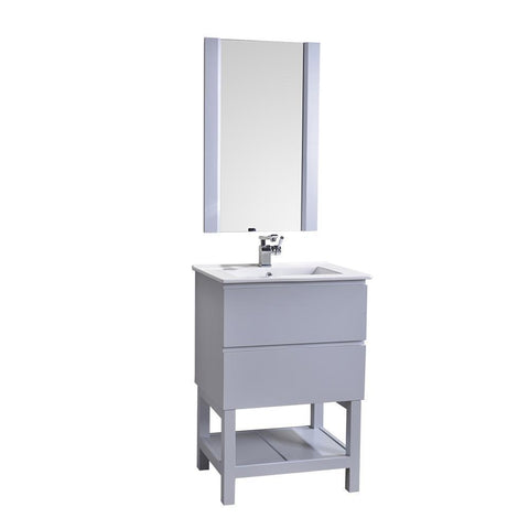 "Alya Bath Biscayne 24"" Single Bathroom Vanity with 20"" Mirrors BC-3501-24-LG-M20"