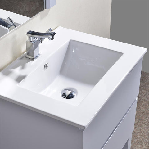 "Alya Bath Biscayne 30"" Single Bathroom Vanity with 24"" Mirrors BC-3501-30-LG-M24"