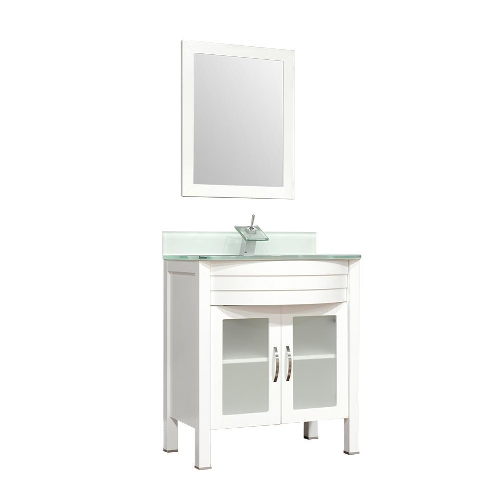 "Alya Bath Elite 30"" Single Modern Bathroom Vanity with countertop AW-082-30-W-LGGT-NM"