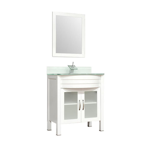 "Image of Alya Bath Elite 30"" Single Modern Bathroom Vanity with countertop AW-082-30-W-LGGT-NM"