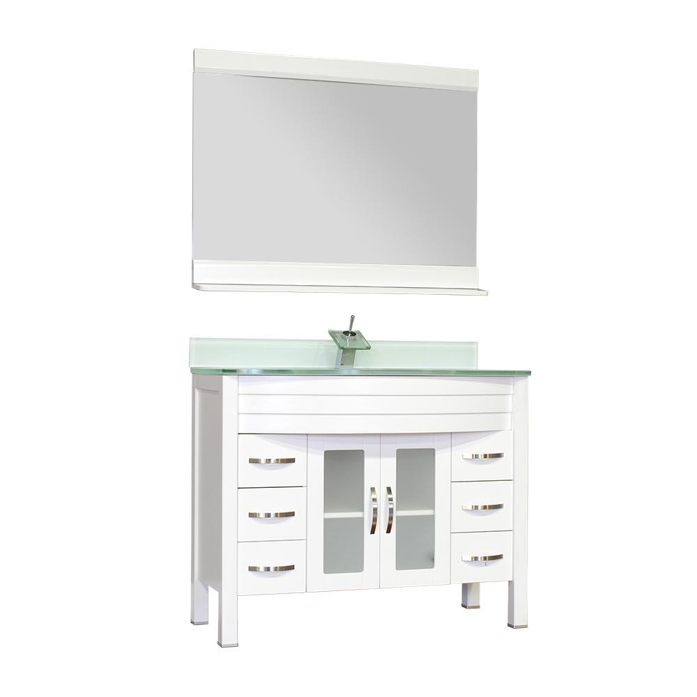 "Alya Bath Elite 42"" Single Modern Bathroom Vanity with Countertop AW-082-42-W-LGGT-NM"