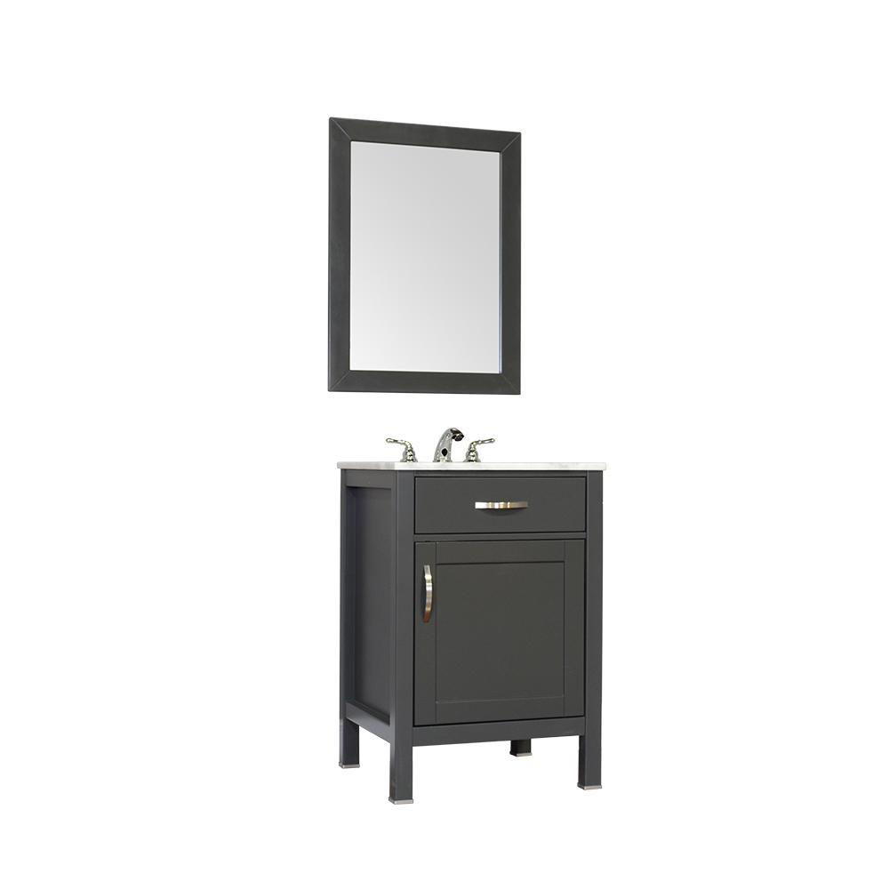 "Alya Bath Hudson 24"" Single Contemporary Bathroom Vanity with Countertop FW-8016-24-G-NT-BMT-NM"