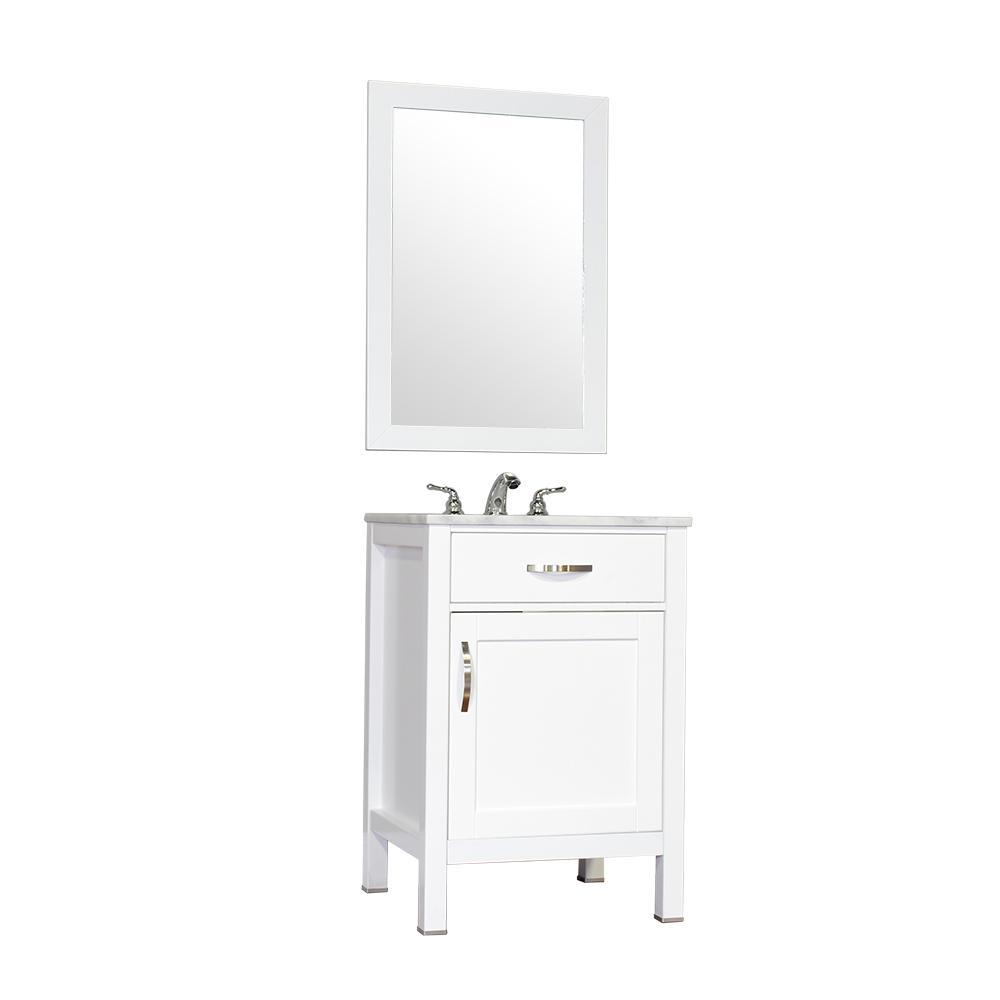 "Alya Bath Hudson 24"" Single Contemporary Bathroom Vanity with Countertop FW-8016-24-W-NT-BMT-NM"