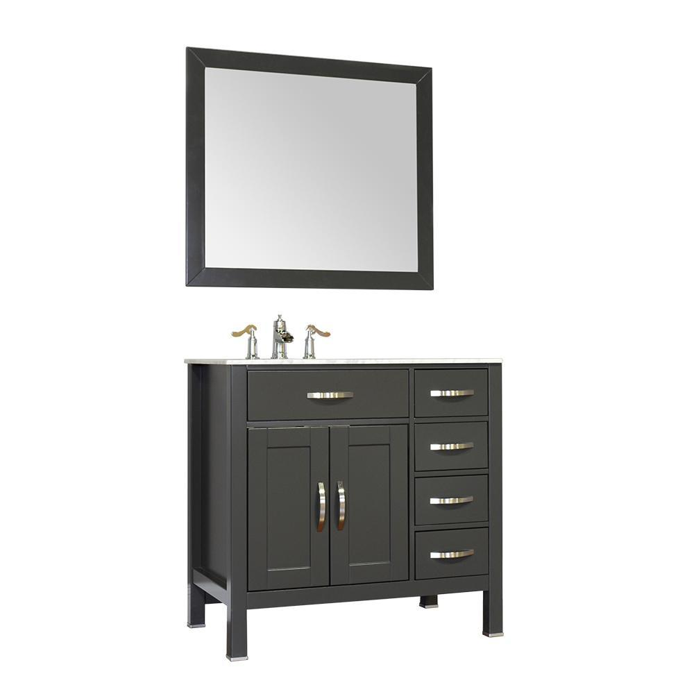"Alya Bath Hudson 36"" Single Contemporary Bathroom Vanity with Countertop FW-8016-36-G-NT-BMT-NM"