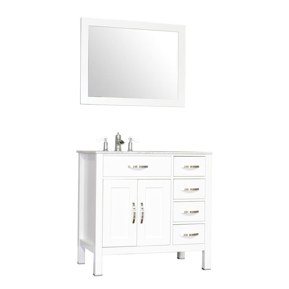"Alya Bath Hudson 36"" Single Contemporary Bathroom Vanity with Countertop FW-8016-36-W-NT-BMT-NM"