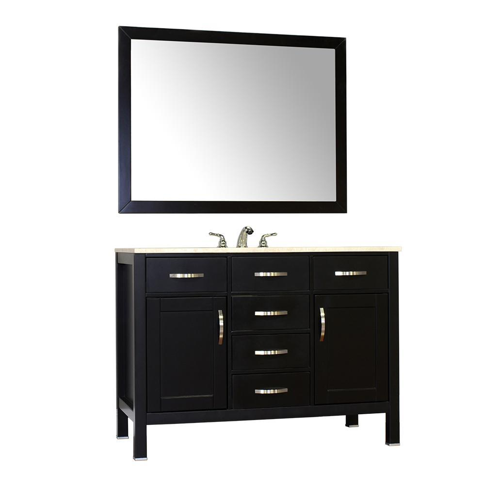 "Alya Bath Hudson 48"" Single Contemporary Bathroom Vanity with Countertop FW-8016-48-B-NT-BMT-NM"