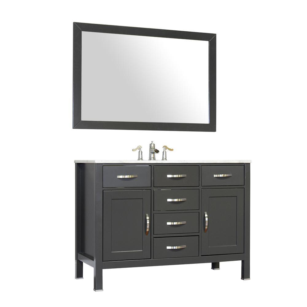 "Alya Bath Hudson 48"" Single Contemporary Bathroom Vanity with Countertop FW-8016-48-G-NT-BMT-NM"