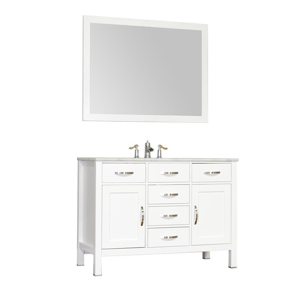 "Alya Bath Hudson 48"" Single Contemporary Bathroom Vanity with Countertop FW-8016-48-W-NT-BMT-NM"