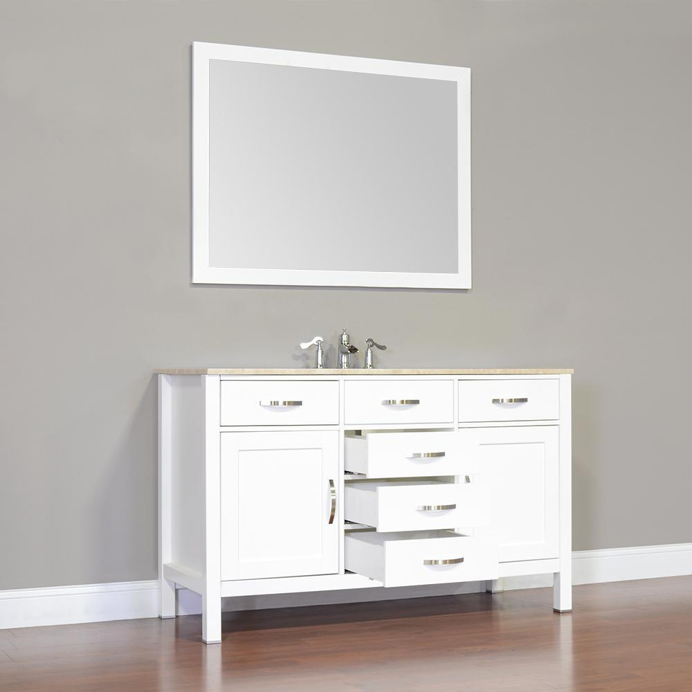 "Alya Bath Hudson 56"" Single Contemporary Bathroom Vanity with Countertop FW-8016-56-B-NT-WMT-NM"