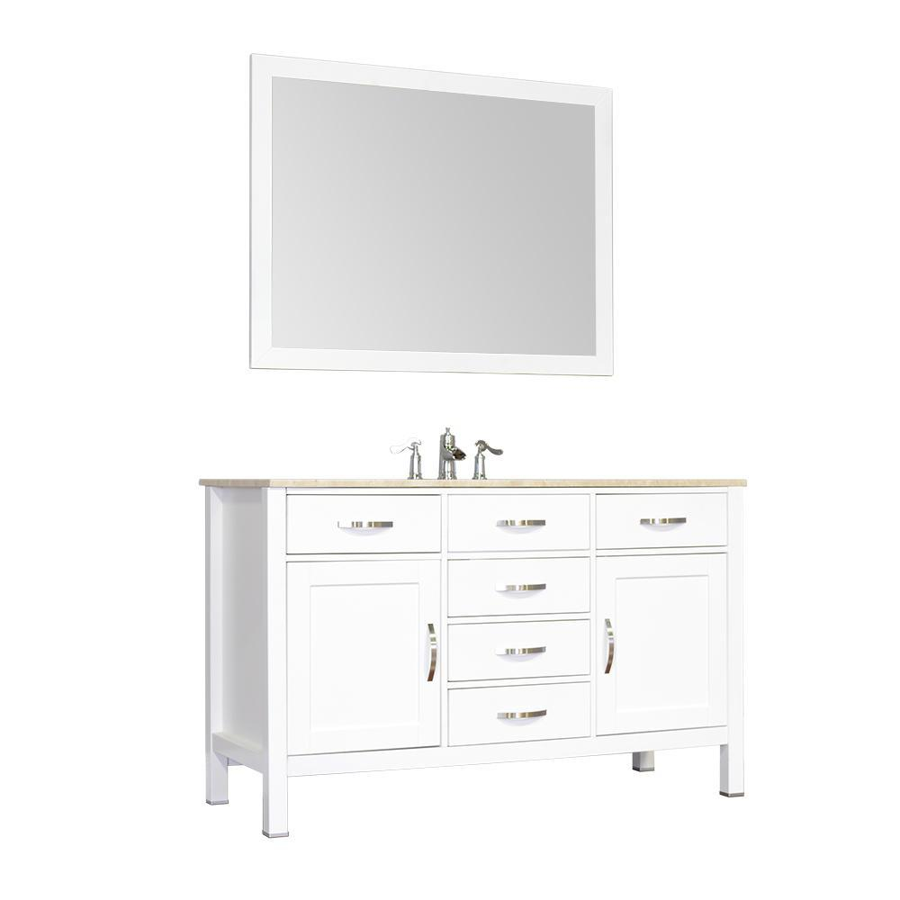 "Alya Bath Hudson 56"" Single Contemporary Bathroom Vanity with Countertop FW-8016-56-W-NT-BMT-NM"
