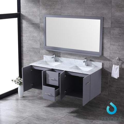 "Amelie 60"" Dark Grey Double Vanity Carrara Marble Top Sinks & 60"" Wall Mirror LA222260DBDSM60"