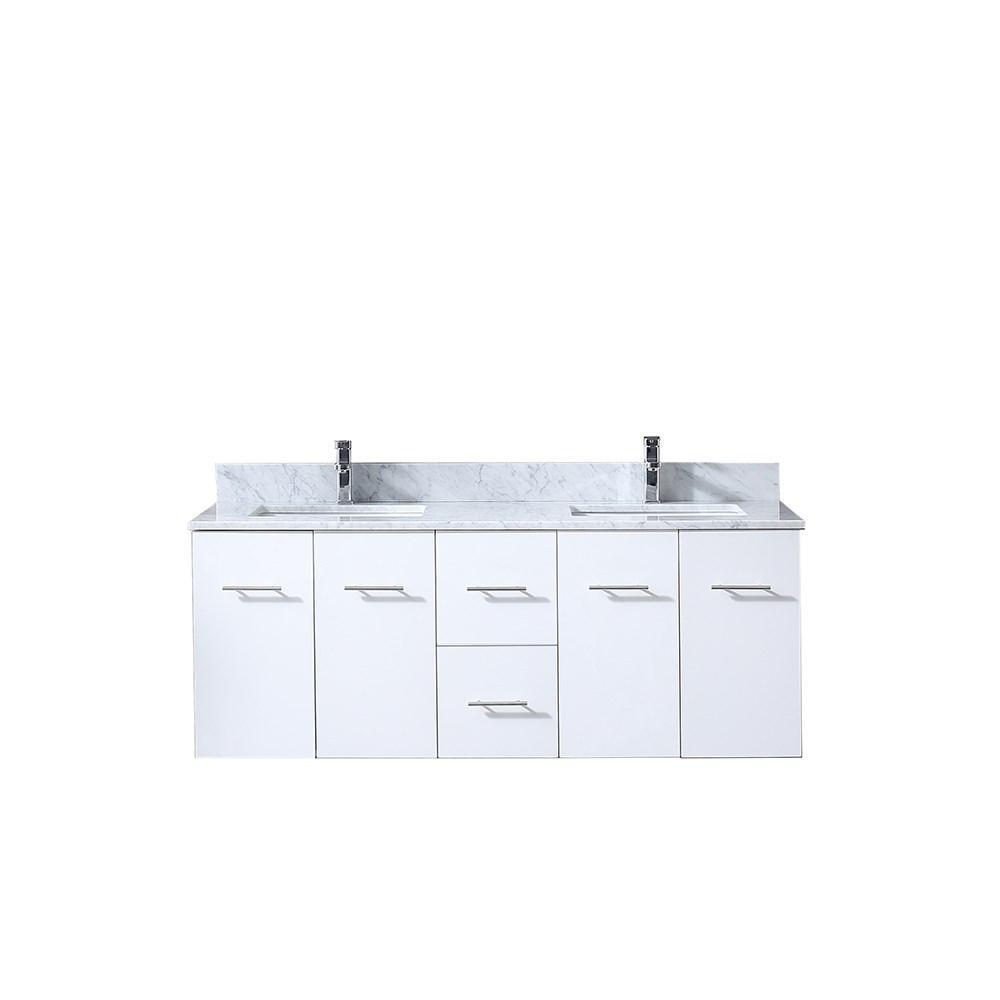 "Amelie 60"" Double Bathroom Vanity Cabinet Carrara Marble Top Square Sinks LA222260DADS000"