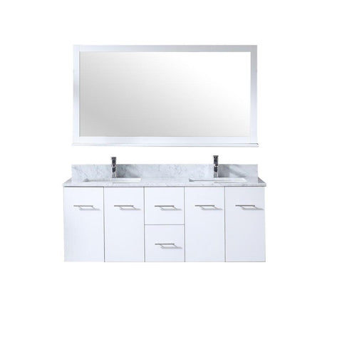 "Amelie 60"" Double Vanity Cabinet Carrara Marble Top Sinks & 60"" Wall Mirror LA222260DADSM60"