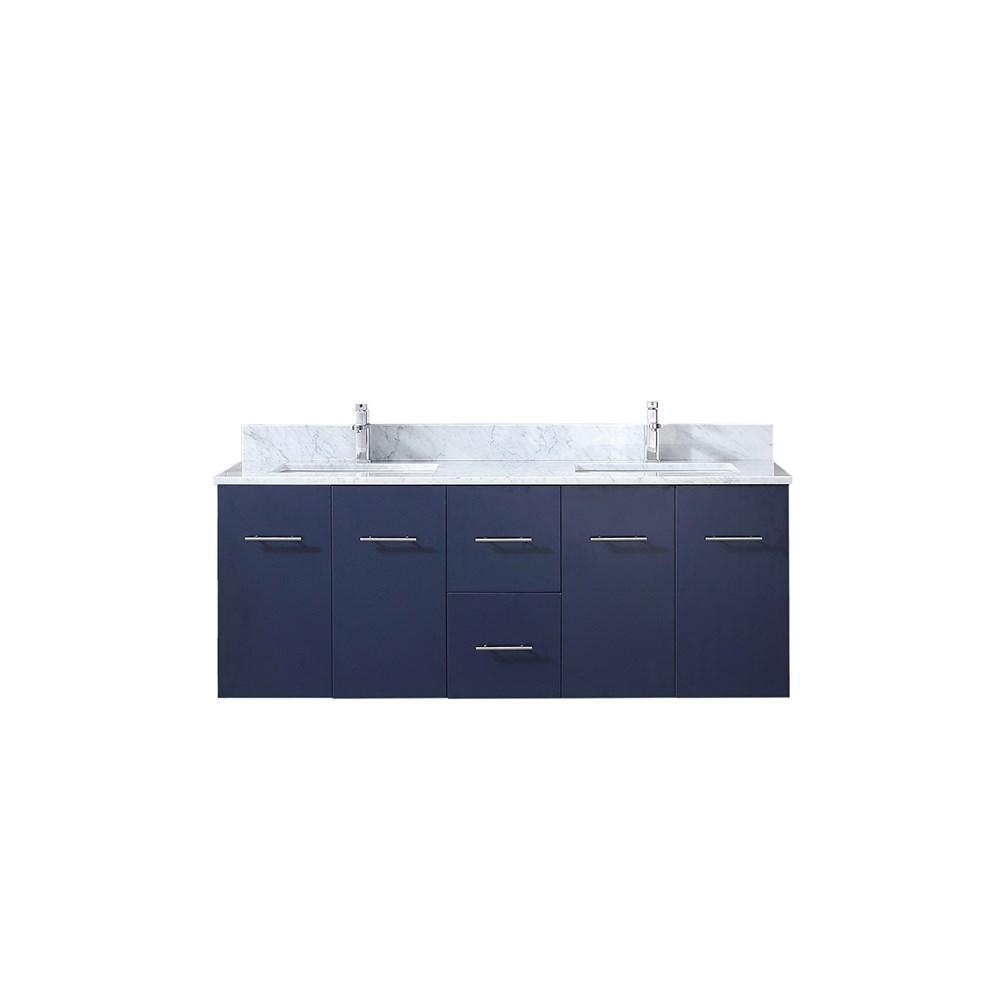"Amelie 60"" Navy Blue Double Bath Vanity Cabinet Carrara Marble Top Square Sinks LA222260DEDS000"