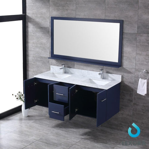 "Amelie 60"" Navy Blue Double Vanity Carrara Marble Top Sinks & 60"" Wall Mirror LA222260DEDSM60"