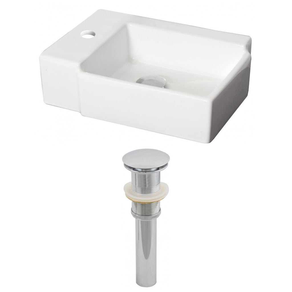 American Imaginations  16.25-in. W Above Counter White Vessel Set For 1 Hole Left  Faucet AI-14844