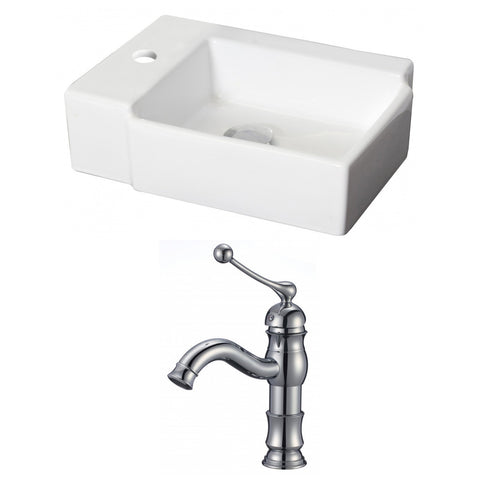 Image of American Imaginations  16.25-in. W Above Counter White Vessel Set For 1 Hole Left  Faucet - Faucet Included AI-15207