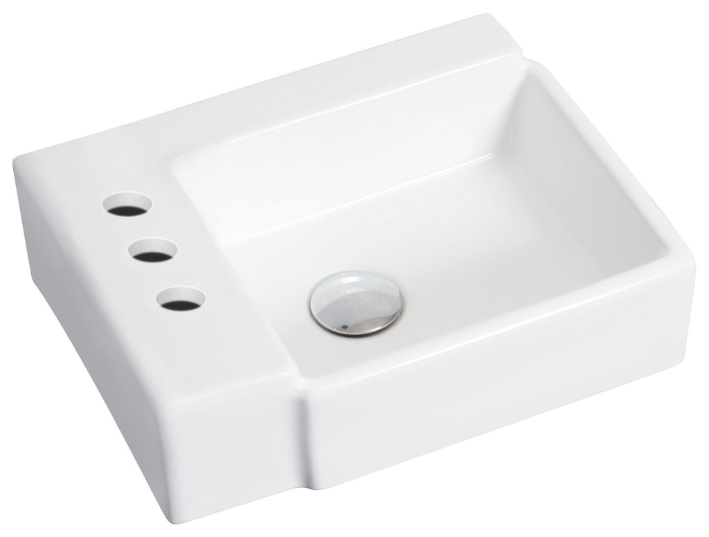 American Imaginations  16.25-in. W Wall Mount White Vessel Set For 3H4-in. Left  Faucet AI-14847