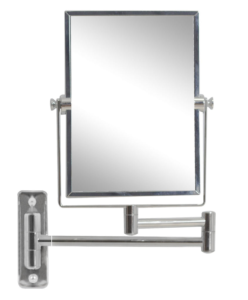 American Imaginations  16.36-in. W Rectangle Brass-Mirror Wall Mount Magnifying Mirror In Chrome Color AI-646
