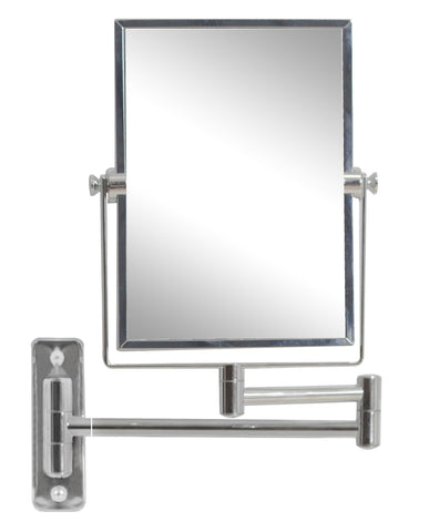 Image of American Imaginations  16.36-in. W Rectangle Brass-Mirror Wall Mount Magnifying Mirror In Chrome Color AI-646