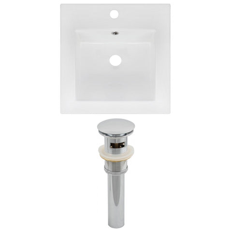 American Imaginations  16.5-in. W 1 Hole Ceramic Top Set In White Color - Overflow Drain Incl. AI-15560