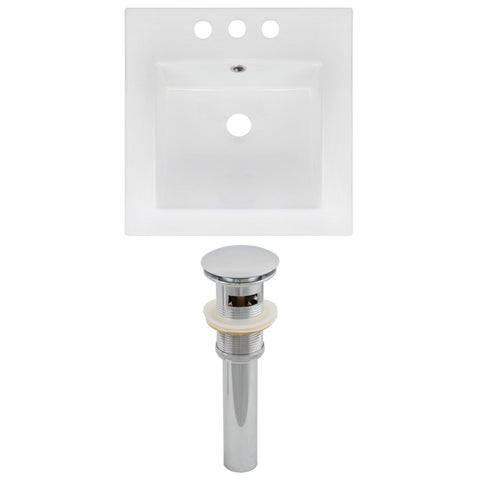 American Imaginations  16.5-in. W 3H4-in. Ceramic Top Set In White Color - Overflow Drain Incl. AI-15561