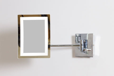 Image of American Imaginations  17.44-in. W Rectangle Brass-LED Wall Mount Magnifying Mirror In Chrome Color AI-558