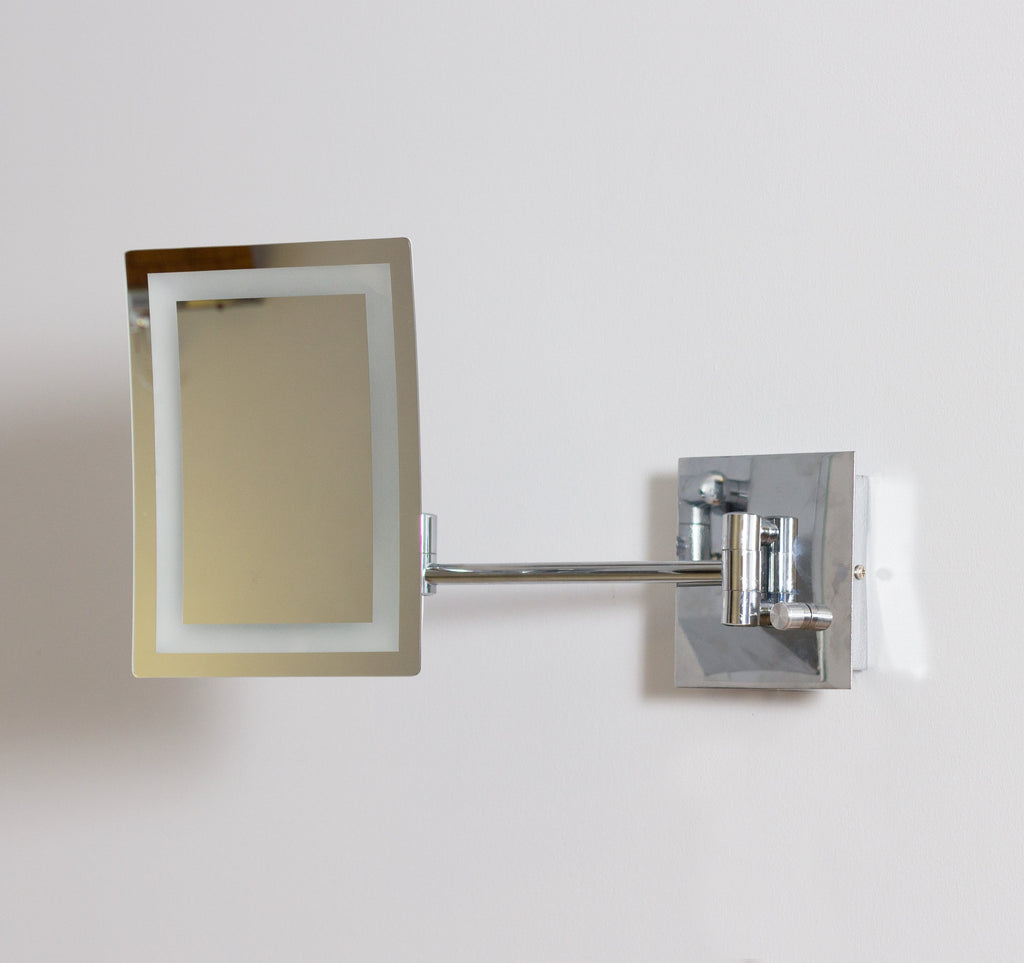 American Imaginations  17.44-in. W Rectangle Brass-LED Wall Mount Magnifying Mirror In Chrome Color AI-558
