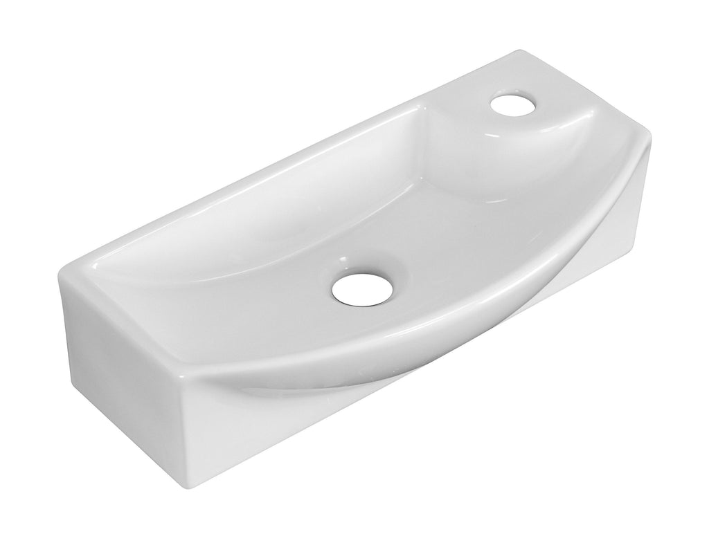 American Imaginations  17.75-in. W Wall Mount White Vessel Set For 1 Hole Right Faucet AI-14861