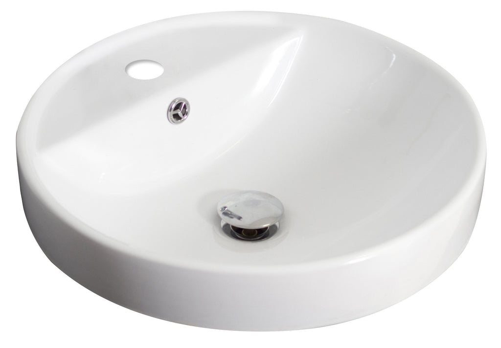 American Imaginations  18.25-in. W Drop In White Vessel Set For 1 Hole Center Faucet - Faucet Included AI-17870