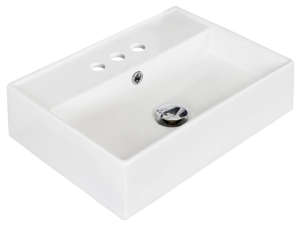 American Imaginations  19.75-in. W Above Counter White Vessel Set For 3H4-in. Center Faucet AI-14849
