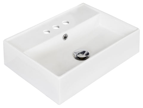 Image of American Imaginations  19.75-in. W Above Counter White Vessel Set For 3H4-in. Center Faucet AI-14849