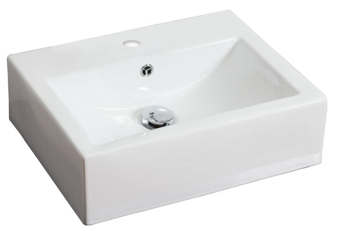 Image of American Imaginations  20.25-in. W Above Counter White Vessel Set For 1 Hole Center Faucet AI-14810