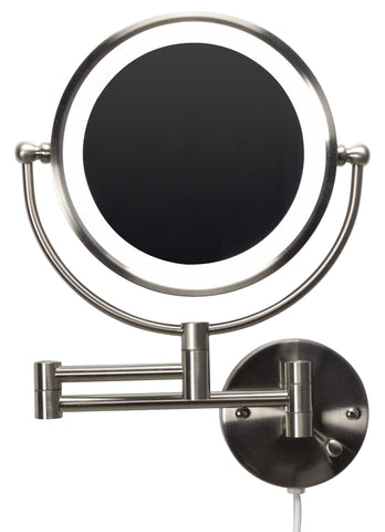 Image of American Imaginations  20.83-in. W Round Brass-LED Wall Mount Magnifying Mirror In Brushed Nickel Color AI-20275