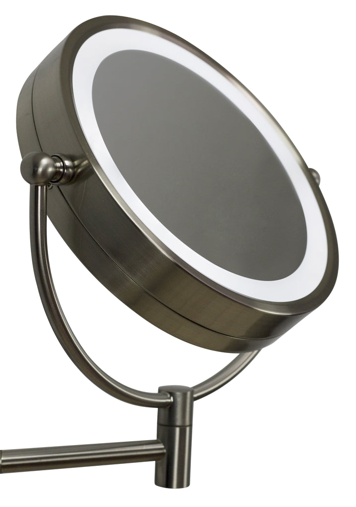 American Imaginations  20.83-in. W Round Brass-LED Wall Mount Magnifying Mirror In Brushed Nickel Color AI-20275