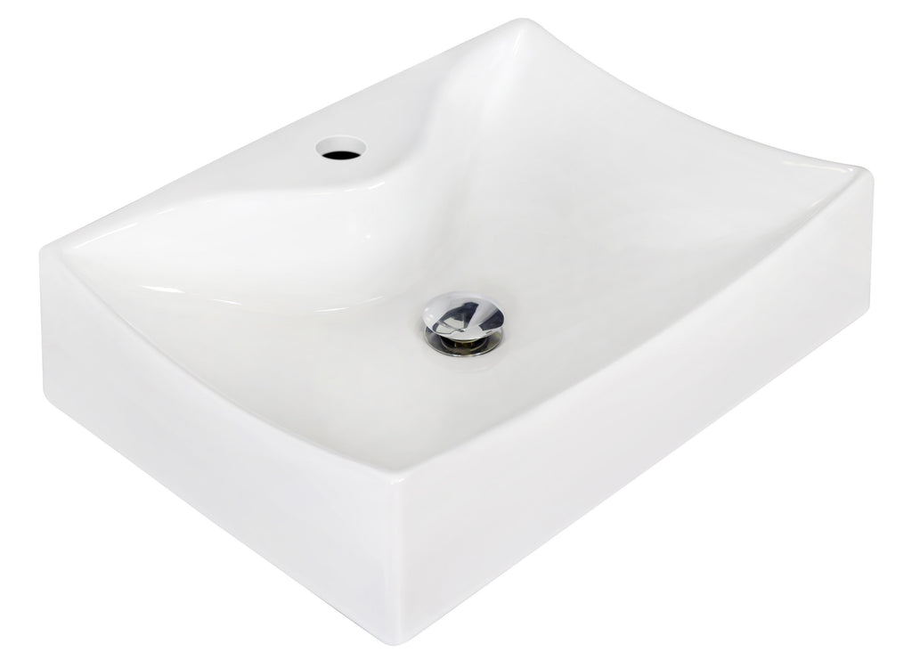 American Imaginations  21.5-in. W Above Counter White Vessel Set For 1 Hole Center Faucet AI-14857