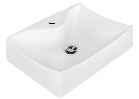 Image of American Imaginations  21.5-in. W Above Counter White Vessel Set For 1 Hole Center Faucet AI-14857