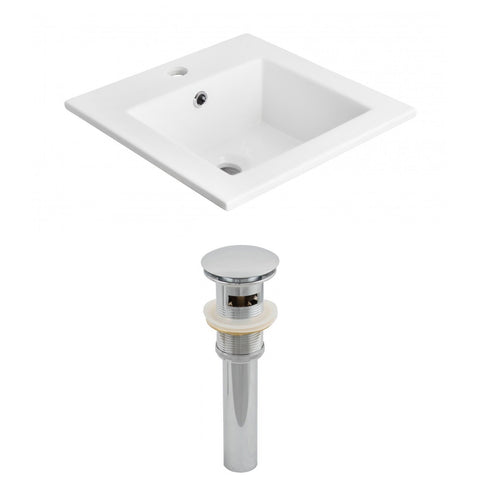 American Imaginations  21-in. W 1 Hole Ceramic Top Set In White Color - Overflow Drain Incl. AI-15525