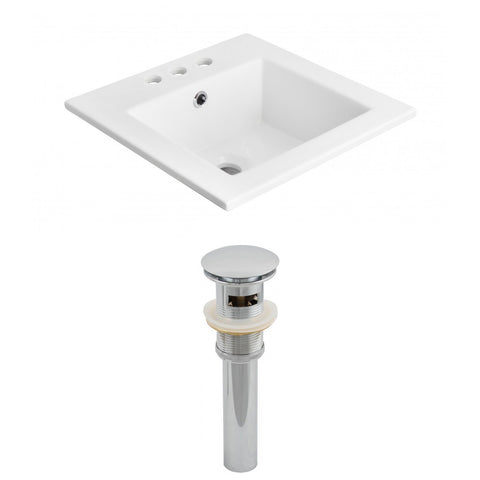 American Imaginations  21-in. W 3H4-in. Ceramic Top Set In White Color - Overflow Drain Incl. AI-15529