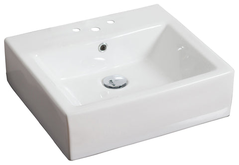 Image of American Imaginations  21-in. W Above Counter White Vessel Set For 3H4-in. Center Faucet AI-14804