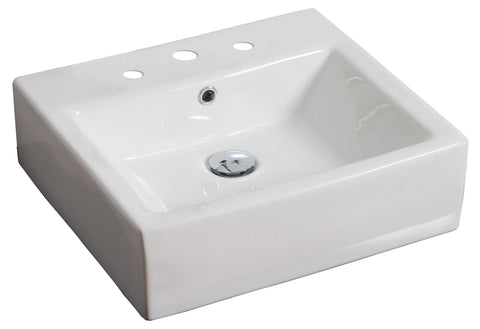 Image of American Imaginations  21-in. W Above Counter White Vessel Set For 3H8-in. Center Faucet AI-14805