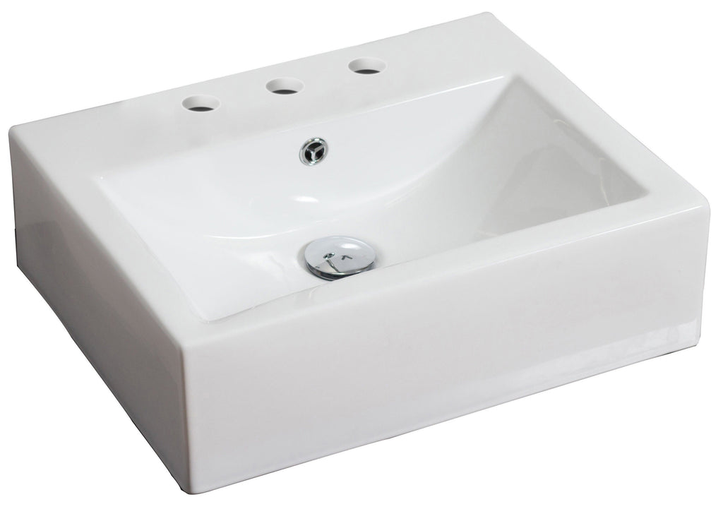 American Imaginations  21-in. W Wall Mount White Vessel Set For 3H8-in. Center Faucet AI-14824